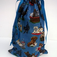 Puppies Kittens Large Drawstring Fabric Gift Bag Upcycled, Reusable 10 X 13 Inches