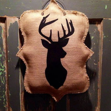 Burlap Deer Head Hanger