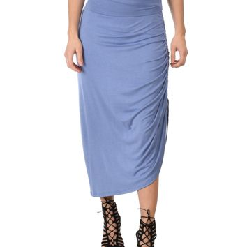 Lyss Loo Tie That Knot Fold Over Blue Maxi Skirt