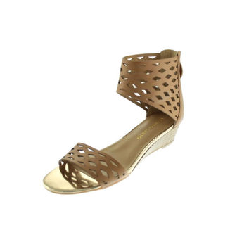 Franco Sarto Womens Union Leather Cut-Out Strap Sandals