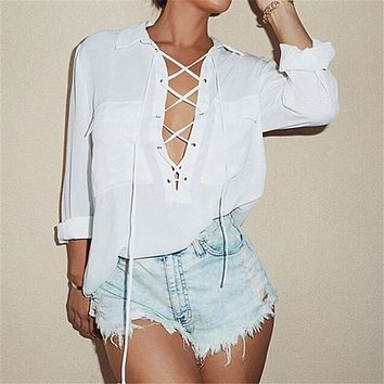 Zanzea 2017 Plus Size Womens Sexy Blouse Turn Down Collar Hollow Out Lace Up Long Sleeve White Chiffon Tops Shirts Casual Blusas
