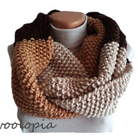 Infinity scarf; hand knit infinity scarf, cowl, neckwarmer. Brown tones.