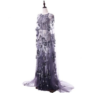 Hand Made to Order, Elegance in Tulle Sequin Beading Purple Illusion Evening Gown