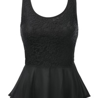J.TOMSON Womens Sleeveless And Short Sleeve Fitted Peplum Top BLACK LARGE