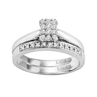 Love Always Round-Cut Diamond Engagement Ring Set in Sterling Silver (1/4 ct. T.W.) (White)