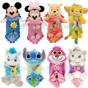 Cute Babies Baby Mickey Minnie Stitch Angel Simba Marie Bear Gorilla Hercules Pegasus with Blanket Plush Toy Doll Children Gifts