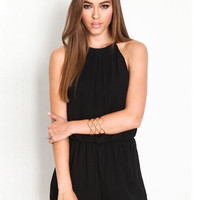 Black Halter Cut-Out Insert Romper