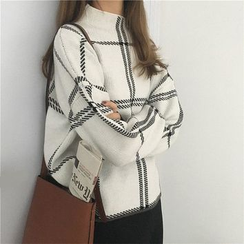 2018 Autumn Winter New Plaid Pullovers Sweaters Women Elegant Knitted Turtleneck Long Sleeve Sweater Female knitwear mujer