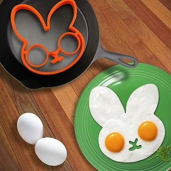 Rabbit Head Shaped Silicone Egg Mold Omelet Creative Fried Egg Molds Cooking Molds Ring Kitchen Tool [7958801031]