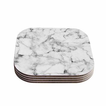 "Kess Original ""White Marble"" Gray White Coasters (Set of 4)"