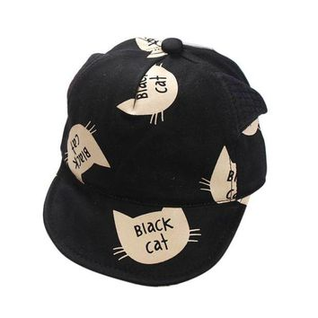 LMF78W Kids Infant Sun Cute Cotton Cap Summer Baby Girls Boys Sun Beach Hat Fashion Cat Pattern