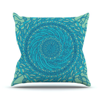 "Patternmuse ""Mandala Spin Mint"" Green Blue Throw Pillow"