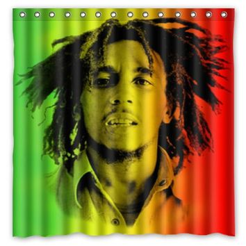 Bob Marley Reggae Music Pattern Creative Bath Shower Curtains Bathroom Waterproof Polyester Fabric Shower Curtain 180x180cm