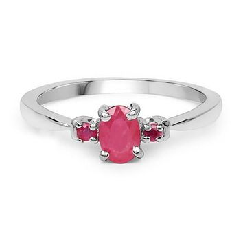 A Natural .61CT Oval cut Red Ruby Engagement Ring