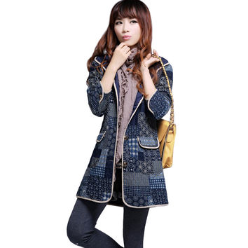2017 Spring Autumn Ethnic Floral Print Quilted Hooded Windbreaker Jackets Cotton Long Sleeves Women basic Coats Female V210