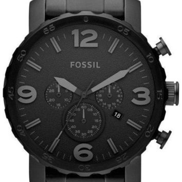Fossil Nate Chronograph Black Dial Black Ion-plated JR1401 Men's Watch