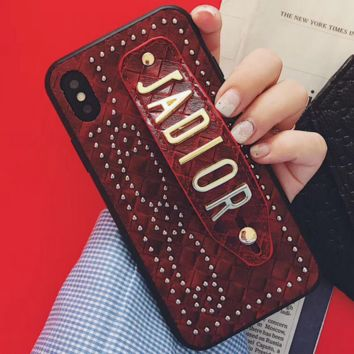 DIOR Tide brand wristband iPhone6splus leather case phone case cover red