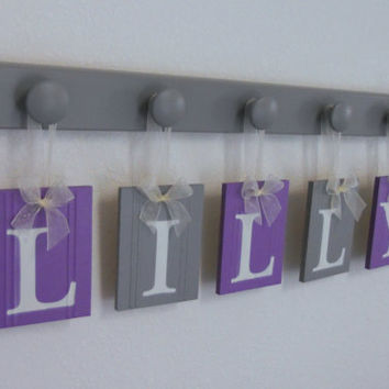 Purple and Gray Baby Girl Nursery Decor Wall Letters Personalized for LILLY with 5 Wooden Hooks Painted Light Grey