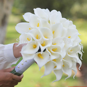 2016 Real hot 3 Color Beautiful Artificial Flowers White Calla Lily Long Flower Bouquet Wedding Bouquet bridal bouquets