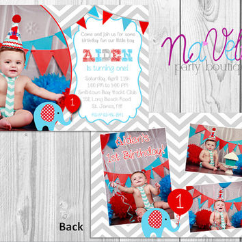 Elephant & Banner 1st Birthday Photo Invitation/Double Sided Invitation/Red/Blue/1st Birthday/Chevron/Grey/Printable/Digital