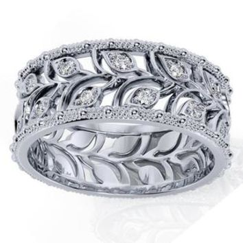 White gold Leaves Wedding Band Wide Band with Diamonds Leaf Floral Band Ring Birthday Gift Wedding Ring Band Milgrain