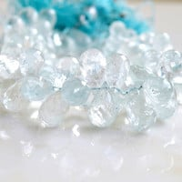Aquamarine Gemstone Briolette Blue Faceted Tear Drop 5 to 6mm 1/2 strand 50 beads