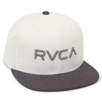 RVCA Twill Snapback Hat - Mens Backpack - White/Charcoal - One