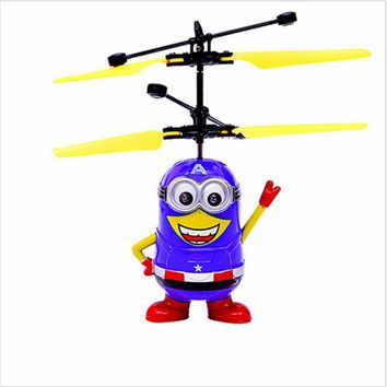 Flying Captain America With Switch RC Purple Spuerhero Helicopter Remote Control Shinning LED Lighting Eye Kids Toy Gift