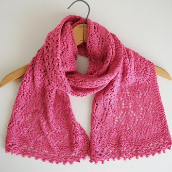 Pink Knit Lace Shawl Vintage Modern Style