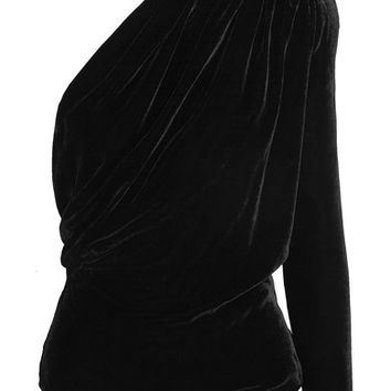 Gareth Pugh - Open-back one-shoulder velvet top