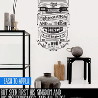 Vintage Style Quote Wall Decal, Vinyl Wall Lettering, But Seek First His Kingdom - Matthew 6:33  - QK010