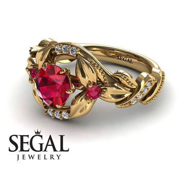 Engagement ring 14K Yellow Gold Flowers Vintage Art Deco Ring Ruby With White diamond - Isabelle Engagement Ring