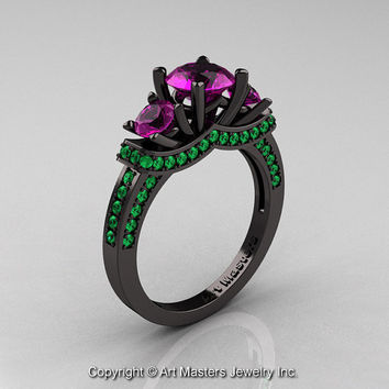 French 14K Black Gold Three Stone Amethyst Emerald Wedding Ring, Engagement Ring R182-14KBGAMEM