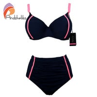 Andzhelika 2016 Newest Bikinis Women Fold Underwire Solid High Waist Swimsuit Plus Size Swimwear Bathing Suits Maillot de bain