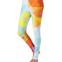 Orange and Pale Blue Yoga Leggings
