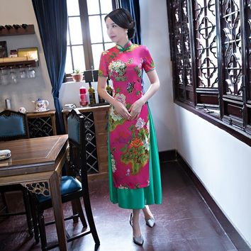 New Spring Slim Long Traditional Chinese Women Dress Rayon Print Flower Sexy Qipao Lady Elegant Mandarin Collar Cheongsam S-XXL