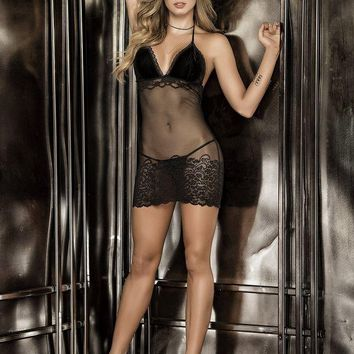 LMFON Sensuous Babydoll with Matching G-String