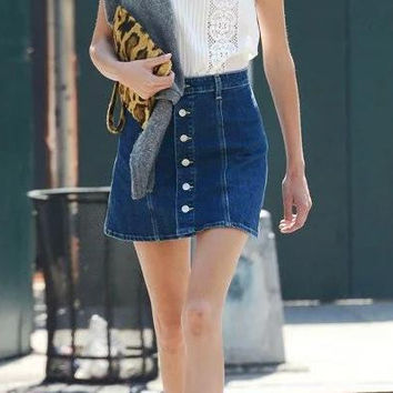 Blue Denim A-Line Buttons Mini Skirt