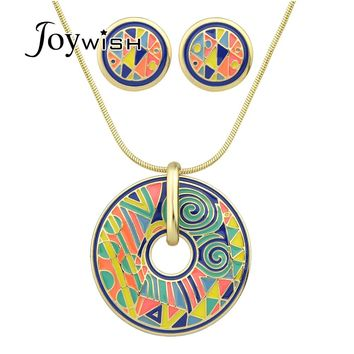 Costume Jewelry Sets Boho Gold-Color Chain Candy Color Geometric Pattern Round Pendant Necklace Collier Femme and Stud Earrings