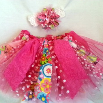 1 to 2 year old tutu and headband set - shabby chic tutu - birthday tutu - toddler costume - scrappy tutu - hot pink with polka dots