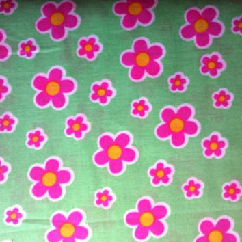 New Quilting fabric by the yard, Easter Blotch Floral, Green & Pink, by Springs Creative Products