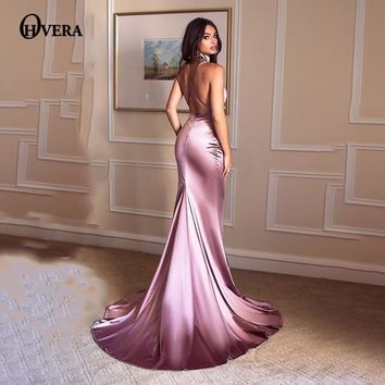 Ohvera Silk Prom Elegant Party Dresses Women Maxi Long Dress 2018 Spaghetti Strap Backless Sexy Summer Dress Mermaid Vestidos