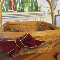 Large Vintage Woven Basket with Burgundy and Green Woven Decoration in the Basket and Burgundy Bow for an Accent