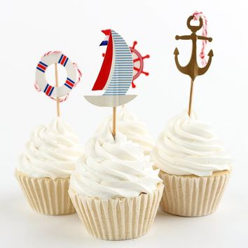 cake toppers paper ocean style cards banner for fruit Cupcake Wrapper Baking Cup birthday tea party wedding decor baby shower Wh