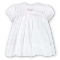 Sarah Louise Baby Girls Sweet White Smocked Dress with Pastel Embroidery