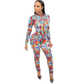 PEAP78W Fashion Visual Arts Flower petals Jumpsuit Women club Rompers Elastic Skinny Long Sleeve Jumpsuits Cold Shoulder Plus size S-XL