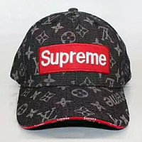 Supreme & LV Louis Vuitton New Fashion Monogram Embroidery Sunscreen Travel Couple Cowboy Cap Hat Black