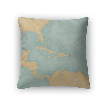 Throw Pillow, Map Of Caribbean Puerto Rico Vintage Series