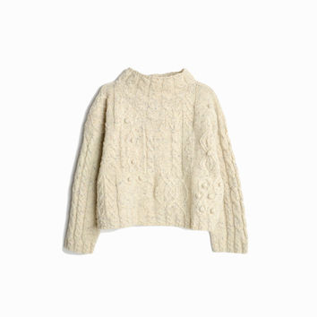 e70c0b4de Vintage Cropped Cable Knit Wool Sweater in Flecked Oatmeal   Moc