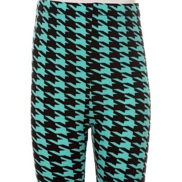 Girls Checker Leggings,Teal-Black